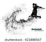 basketball player of particle.... | Shutterstock .eps vector #421888567