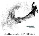 basketball player of particle.... | Shutterstock .eps vector #421888675