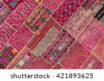 indian patchwork carpet in... | Shutterstock . vector #421893625