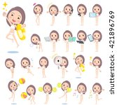set of various poses of long... | Shutterstock .eps vector #421896769