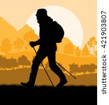 man hiking in mountains... | Shutterstock .eps vector #421903807