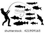 Fisherman And Fishes Silhouettes