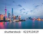 shanghai in nightfall ... | Shutterstock . vector #421913419