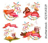 banner set with ribbons for... | Shutterstock .eps vector #421914319