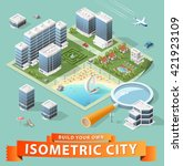 build your own isometric city.... | Shutterstock .eps vector #421923109