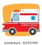 cartoon ambulance flat vector   Shutterstock .eps vector #421927405
