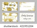set of 4 golden business card... | Shutterstock .eps vector #421951204