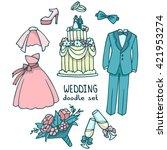 wedding color doodle set ... | Shutterstock .eps vector #421953274