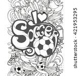 doodle vertical monochrome... | Shutterstock .eps vector #421953295