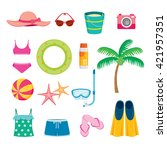 summer objects icons set ... | Shutterstock .eps vector #421957351