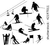 Set Of Ski Vector