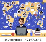 tutor and his online education... | Shutterstock .eps vector #421971649