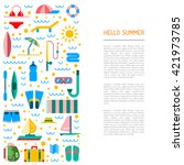 summer icon outline set for... | Shutterstock .eps vector #421973785