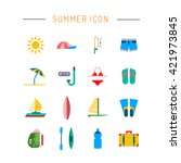 icons set for summer holiday... | Shutterstock .eps vector #421973845
