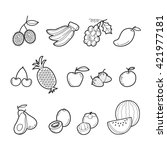 fruits outline icons set ... | Shutterstock .eps vector #421977181