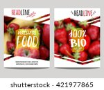 Vector brochure design template with blur background with fruits and strawberry. Healthy fresh food, vegetarian and eco concept. Can be used for presentation, web, flyer, magazine, cover, poster. | Shutterstock vector #421977865