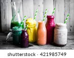 variety of colorful smoothies... | Shutterstock . vector #421985749
