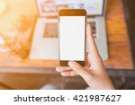 girl using smartphone in cafe.  ... | Shutterstock . vector #421987627
