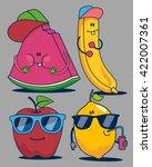 apple  watermelon  banana ... | Shutterstock .eps vector #422007361