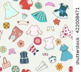 cute girl clothes. seamless... | Shutterstock .eps vector #422008471