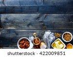 top view of wooden kitchen... | Shutterstock . vector #422009851