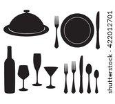 cutlery vector set with black... | Shutterstock .eps vector #422012701