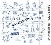 hand drawn doodles of gardening ...   Shutterstock .eps vector #422013559
