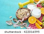 healthy food and tape measure... | Shutterstock . vector #422016595