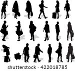 set of 18 vector's silhouettes... | Shutterstock .eps vector #422018785