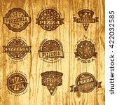 set of vector pizza design... | Shutterstock .eps vector #422032585