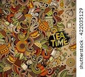 cartoon hand drawn doodles cafe ... | Shutterstock .eps vector #422035129