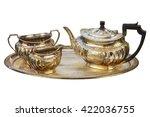 antique art deco silver tea set ... | Shutterstock . vector #422036755