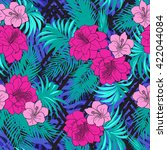tropical floral seamless... | Shutterstock .eps vector #422044084