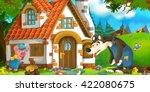 cartoon scene of wolf standing...   Shutterstock . vector #422080675