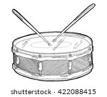 snare drum and sticks sketch... | Shutterstock .eps vector #422088415