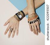 black jewelry fashion.... | Shutterstock . vector #422095507
