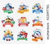 travel icon set in the form of... | Shutterstock .eps vector #422097781