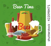 beer flat composition with... | Shutterstock .eps vector #422098471