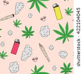 marijuana seamless vector... | Shutterstock .eps vector #422104045