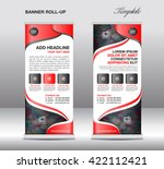 red roll up banner stand... | Shutterstock .eps vector #422112421