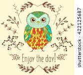 funny cartoon owl  vector... | Shutterstock .eps vector #422125687