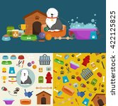 dog stuff and supply icons flat ... | Shutterstock .eps vector #422125825