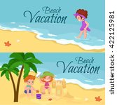 summer children travel poster... | Shutterstock .eps vector #422125981