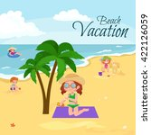 children summertime vacation... | Shutterstock .eps vector #422126059