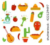 mexican food icons  ... | Shutterstock . vector #422129497