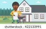 man preparing barbecue. | Shutterstock .eps vector #422133991