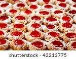 Homemade christmas cookies with jam glaze - stock photo