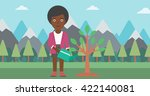 woman watering tree with light... | Shutterstock .eps vector #422140081