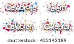 celebrate paper banners with... | Shutterstock .eps vector #422143189