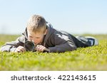 ground level view on cute blond ... | Shutterstock . vector #422143615